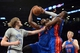 Apr 4, 2014; Brooklyn, NY, USA; Detroit Pistons center Andre Drummond (0) pulls down a rebound against the Brooklyn Nets during the second half at Barclays Center. The Nets won 116-104. Mandatory Credit: Joe Camporeale-USA TODAY Sports