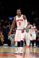 Apr 4, 2014; New York, NY, USA; New York Knicks shooting guard J.R. Smith (8) reacts after missing a shot at the buzzer against the Washington Wizards at the end of the fourth quarter of a game at Madison Square Garden. The Wizards defeated the Knicks 90-89. Mandatory Credit: Brad Penner-USA TODAY Sports