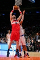 Apr 4, 2014; New York, NY, USA; Washington Wizards center Marcin Gortat (4) grabs a rebound against the New York Knicks during the fourth quarter of a game at Madison Square Garden. The Wizards defeated the Knicks 90-89. Mandatory Credit: Brad Penner-USA TODAY Sports