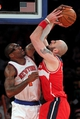 Apr 4, 2014; New York, NY, USA; Washington Wizards center Marcin Gortat (4) is blocked by New York Knicks power forward Amar'e Stoudemire (1) during the third quarter of a game at Madison Square Garden. The Wizards defeated the Knicks 90-89. Mandatory Credit: Brad Penner-USA TODAY Sports