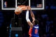 Apr 4, 2014; Brooklyn, NY, USA; Detroit Pistons center Andre Drummond (0) dunks against the Brooklyn Nets during the second half at Barclays Center. The Nets won 116-104. Mandatory Credit: Joe Camporeale-USA TODAY Sports