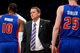Apr 4, 2014; Brooklyn, NY, USA; Detroit Pistons head coach John Loyer looks on against the Brooklyn Nets during the second half at Barclays Center. The Nets won 116-104. Mandatory Credit: Joe Camporeale-USA TODAY Sports