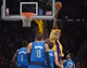 Apr 4, 2014; Los Angeles, CA, USA; Los Angeles Lakers forward Jordan Hill (27) dunks the ball as Dallas Mavericks players Samuel Dalembert (1), Shawn Marion (0), Jose Calderon (8) and Devin Harris (20) watch at Staples Center. Mandatory Credit: Kirby Lee-USA TODAY Sports