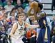 Apr 4, 2014; Salt Lake City, UT, USA; Utah Jazz guard Gordon Hayward (20) defends against New Orleans Pelicans forward Al-Farouq Aminu (0) during the second half at EnergySolutions Arena. The Jazz won 100-96. Mandatory Credit: Russ Isabella-USA TODAY Sports