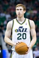 Apr 4, 2014; Salt Lake City, UT, USA; Utah Jazz guard Gordon Hayward (20) shoots a free throw during the second half against the New Orleans Pelicans at EnergySolutions Arena. The Jazz won 100-96. Mandatory Credit: Russ Isabella-USA TODAY Sports