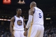 April 4, 2014; Oakland, CA, USA; Golden State Warriors forward Harrison Barnes (40) celebrates with forward Marreese Speights (5) against the Sacramento Kings during the fourth quarter at Oracle Arena. The Warriors defeated the Kings 102-69. Mandatory Credit: Kyle Terada-USA TODAY Sports