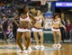 Apr 5, 2014; Milwaukee, WI, USA; The Milwaukee Bucks dance team dances during the a stoppage in plays against the Toronto Raptors at BMO Harris Bradley Center. Mandatory Credit: Jeff Hanisch-USA TODAY Sports