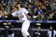 Apr 5, 2014; Denver, CO, USA; Colorado Rockies third baseman Nolan Arenado (28) watches his second home run in the sixth inning against the Arizona Diamondbacks at Coors Field. The Rockies defeated the Diamondbacks 9-4. Mandatory Credit: Ron Chenoy-USA TODAY Sports