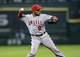 Apr 6, 2014; Houston, TX, USA; Los Angeles Angels shortstop Erick Aybar (2) throws to first base during the first inning against the Houston Astros at Minute Maid Park. Mandatory Credit: Troy Taormina-USA TODAY Sports