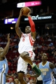 Apr 6, 2014; Houston, TX, USA; Houston Rockets forward Terrence Jones (6) shoots the ball during the first quarter against the Denver Nuggets at Toyota Center. Mandatory Credit: Andrew Richardson-USA TODAY Sports