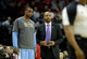 Apr 6, 2014; Houston, TX, USA; Denver Nuggets forward Darrell Arthur (00) speaks with Denver Nuggets head coach Brian Shaw during the second quarter against the Houston Rockets at Toyota Center. Mandatory Credit: Andrew Richardson-USA TODAY Sports