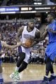 Apr 6, 2014; Sacramento, CA, USA; Sacramento Kings center DeMarcus Cousins (15) drives to the hoop against the Dallas Mavericks in the fourth quarter at Sleep Train Arena. The Mavericks defeated the Kings 93-91. Mandatory Credit: Cary Edmondson-USA TODAY Sports