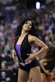 Apr 6, 2014; Sacramento, CA, USA; A Sacramento Kings cheerleader performs during a timeout against the Dallas Mavericks in the fourth quarter at Sleep Train Arena. The Mavericks defeated the Kings 93-91. Mandatory Credit: Cary Edmondson-USA TODAY Sports