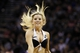 Apr 6, 2014; San Antonio, TX, USA; San Antonio Spurs cheerleader performs during the second half against the Memphis Grizzlies at AT&T Center. The Spurs won 112-92. Mandatory Credit: Soobum Im-USA TODAY Sports