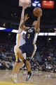 Apr 6, 2014; Oakland, CA, USA; Utah Jazz guard Trey Burke (3) shoots the ball against the Golden State Warriors during the third quarter at Oracle Arena. The Warriors defeated the Jazz 130-102. Mandatory Credit: Kyle Terada-USA TODAY Sports
