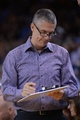 April 4, 2014; Oakland, CA, USA; Sacramento Kings director of sports medicine Pete Youngman during the third quarter against the Golden State Warriors at Oracle Arena. The Warriors defeated the Kings 102-69. Mandatory Credit: Kyle Terada-USA TODAY Sports