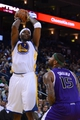 April 4, 2014; Oakland, CA, USA; Golden State Warriors center Jermaine O'Neal (7) shoots the ball against Sacramento Kings center DeMarcus Cousins (15) during the third quarter at Oracle Arena. The Warriors defeated the Kings 102-69. Mandatory Credit: Kyle Terada-USA TODAY Sports