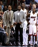 Apr 2, 2014; Miami, FL, USA; Miami Heat guard Ray Allen (left) and  guard Dwyane Wade (right) did not play in a game against the Milwaukee Bucks at American Airlines Arena.  Mandatory Credit: Robert Mayer-USA TODAY Sports
