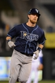 Apr 7, 2014; Kansas City, MO, USA; Tampa Bay Rays second baseman Ben Zobrist (18) rounds the bases after hitting a home run in the ninth inning against the Kansas City Royals at Kauffman Stadium. The Royals won 4-2.  Mandatory Credit: Denny Medley-USA TODAY Sports
