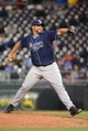 Apr 7, 2014; Kansas City, MO, USA; Tampa Bay Rays relief pitcher Heath Bell (13) delivers a pitch in the eighth inning against the Kansas City Royals at Kauffman Stadium. The Royals won 4-2.  Mandatory Credit: Denny Medley-USA TODAY Sports
