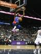 Apr 8, 2014; Atlanta, GA, USA; Detroit Pistons guard Kentavious Caldwell-Pope (5) dunks the ball against the Atlanta Hawks in the second quarter at Philips Arena. Mandatory Credit: Brett Davis-USA TODAY Sports