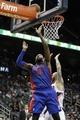 Apr 8, 2014; Atlanta, GA, USA; Detroit Pistons forward Greg Monroe (10) shoots the ball against the Atlanta Hawks in the second quarter at Philips Arena. Mandatory Credit: Brett Davis-USA TODAY Sports