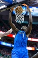 Apr 8, 2014; Salt Lake City, UT, USA; Dallas Mavericks center Samuel Dalembert (1) dunks during the first quarter against the Utah Jazz at EnergySolutions Arena. Mandatory Credit: Russ Isabella-USA TODAY Sports