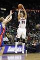Apr 8, 2014; Atlanta, GA, USA; Atlanta Hawks guard Kyle Korver (26) shoots the ball against the Detroit Pistons in the third quarter at Philips Arena. Mandatory Credit: Brett Davis-USA TODAY Sports