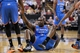 Apr 8, 2014; Sacramento, CA, USA; Oklahoma City Thunder center Kendrick Perkins (5) sits on the ground after being fouled by the Sacramento Kings in the first quarter at Sleep Train Arena. Mandatory Credit: Cary Edmondson-USA TODAY Sports