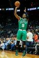 Apr 9, 2014; Atlanta, GA, USA; Boston Celtics guard Rajon Rondo (9) attempts a three in the first quarter against the Atlanta Hawks at Philips Arena. Mandatory Credit: Daniel Shirey-USA TODAY Sports