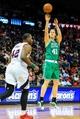 Apr 9, 2014; Atlanta, GA, USA; Boston Celtics center Kelly Olynyk (41) shoots a three in the first quarter against the Atlanta Hawks at Philips Arena. Mandatory Credit: Daniel Shirey-USA TODAY Sports