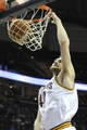 Apr 9, 2014; Cleveland, OH, USA; Cleveland Cavaliers center Tyler Zeller (40) dunks the ball in the fourth quarter agains the Detroit Pistons at Quicken Loans Arena. Mandatory Credit: David Richard-USA TODAY Sports