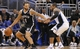 Apr 9, 2014; Orlando, FL, USA; Brooklyn Nets guard Deron Williams (8) drives to the basket as Orlando Magic guard Jameer Nelson (14) defends during the second half at Amway Center. Orlando Magic defeated the Brooklyn Nets 115-111. Mandatory Credit: Kim Klement-USA TODAY Sports