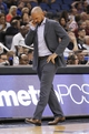Apr 9, 2014; Orlando, FL, USA; Brooklyn Nets head coach Jason Kidd reacts as he walks back to the bench against the Orlando Magic during the second half at Amway Center. Orlando Magic defeated the Brooklyn Nets 115-111. Mandatory Credit: Kim Klement-USA TODAY Sports