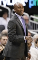 Apr 9, 2014; Orlando, FL, USA; Orlando Magic head coach Jacque Vaughn reacts against the Brooklyn Nets during the second half at Amway Center. Orlando Magic defeated the Brooklyn Nets 115-111. Mandatory Credit: Kim Klement-USA TODAY Sports
