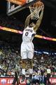 Apr 9, 2014; Atlanta, GA, USA; Atlanta Hawks guard Jeff Teague (0) dunks on a fast break in the second half against the Boston Celtics at Philips Arena. The Hawks won 105-97. Mandatory Credit: Daniel Shirey-USA TODAY Sports