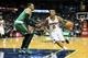 Apr 9, 2014; Atlanta, GA, USA; Atlanta Hawks guard Jeff Teague (0) drives to the basket past Boston Celtics forward Jeff Green (8) in the second half at Philips Arena. The Hawks won 105-97. Mandatory Credit: Daniel Shirey-USA TODAY Sports