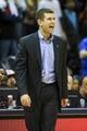 Apr 9, 2014; Atlanta, GA, USA; Boston Celtics head coach Brad Stevens reacts to a play in the second half against the Atlanta Hawks at Philips Arena. The Hawks won 105-97. Mandatory Credit: Daniel Shirey-USA TODAY Sports