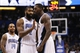 Apr 9, 2014; Orlando, FL, USA; Orlando Magic center Dewayne Dedmon (3) reacts with forward Kyle O'Quinn (2) after he dunked in the act of getting fouled and shoots and one against the Brooklyn Nets during the second half at Amway Center. Orlando Magic defeated the Brooklyn Nets 115-111. Mandatory Credit: Kim Klement-USA TODAY Sports