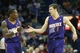 Apr 9, 2014; New Orleans, LA, USA; Phoenix Suns guard Eric Bledsoe (2) celebrates with guard Goran Dragic (1) against the New Orleans Pelicans in the second half at the Smoothie King Center. The Suns won 94-88. Mandatory Credit: Crystal LoGiudice-USA TODAY Sports