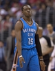Apr 9, 2014; Los Angeles, CA, USA; Oklahoma City Thunder guard Reggie Jackson (15) reacts after scoring against the Los Angeles Clippers during the third quarter at Staples Center. The Thunder won 107-101. Mandatory Credit: Kelvin Kuo-USA TODAY Sports