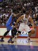 Apr 9, 2014; Los Angeles, CA, USA; Los Angeles Clippers forward Blake Griffin (32) dribbles the ball as Oklahoma City Thunder forward Serge Ibaka (9) defends during the third quarter at Staples Center. The Thunder won 107-101. Mandatory Credit: Kelvin Kuo-USA TODAY Sports