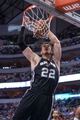 Apr 10, 2014; Dallas, TX, USA; San Antonio Spurs center Tiago Splitter (22) dunks the ball during the second half against the Dallas Mavericks at the American Airlines Center. The Spurs defeated the Mavericks 109-100. Mandatory Credit: Jerome Miron-USA TODAY Sports