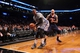 Apr 11, 2014; Brooklyn, NY, USA; Brooklyn Nets small forward Paul Pierce (34) controls a rebound against Atlanta Hawks center Pero Antic (6) during the first quarter of a game at Barclays Center. Mandatory Credit: Brad Penner-USA TODAY Sports