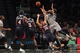 Apr 11, 2014; Brooklyn, NY, USA; Brooklyn Nets small forward Paul Pierce (34) shoots over Atlanta Hawks shooting guard Kyle Korver (26) during the second quarter of a game at Barclays Center. Mandatory Credit: Brad Penner-USA TODAY Sports