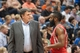 Apr 11, 2014; Minneapolis, MN, USA; Houston Rockets head coach Kevin McHale talks to guard James Harden (13) in the second quarter against the Minnesota Timberwolves at Target Center. Mandatory Credit: Brad Rempel-USA TODAY Sports