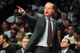 Apr 11, 2014; Brooklyn, NY, USA; Atlanta Hawks head coach Mike Budenholzer coaches against the Brooklyn Nets during the fourth quarter of a game at Barclays Center. The Hawks defeated the Nets 93-88. Mandatory Credit: Brad Penner-USA TODAY Sports