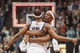 Apr 11, 2014; Minneapolis, MN, USA; Minnesota Timberwolves forward Dante Cunningham (33) hugs forward Corey Brewer (13) at the end of the game after he scores 51 points against Houston Rockets at Target Center. The Minnesota Timberwolves win 112-110. Mandatory Credit: Brad Rempel-USA TODAY Sports