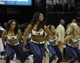 Apr 11, 2014; Memphis, TN, USA; Memphis Grizzlies cheerleader perform during the game against the Philadelphia 76ers at FedExForum. Memphis Grizzlies beat Philadelphia 76ers 117 - 95. Mandatory Credit: Justin Ford-USA TODAY Sports