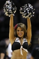 Apr 11, 2014; San Antonio, TX, USA; San Antonio Spurs cheerleader performs during the first half against the Phoenix Suns at AT&T Center. Mandatory Credit: Soobum Im-USA TODAY Sports